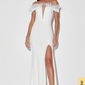 Lulu off the shoulder feather maxi dress